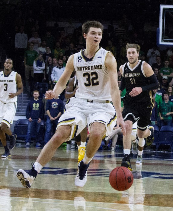 Sophomore guard Steve Vasturia dribbles the ball during Notre Dame's 86-78 win over Milwaukee on Nov. 21 at Purcell Pavilion.