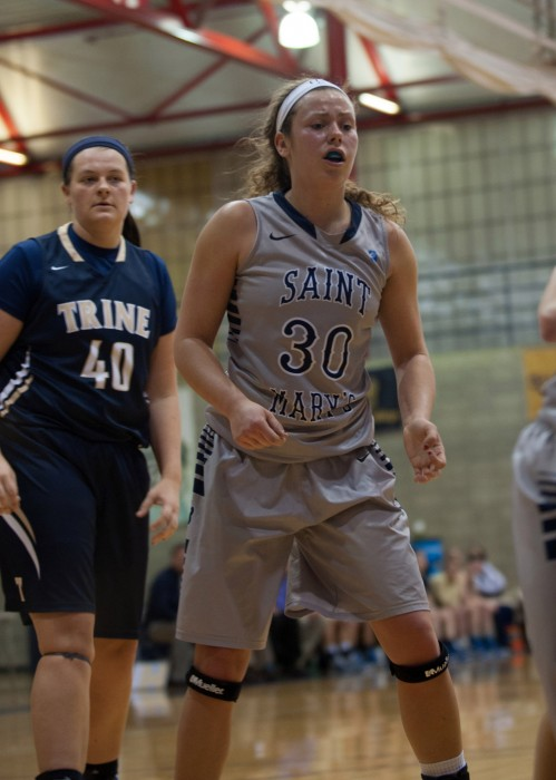 Saint Mary's senior forward Krista Knapke prepares for play to resume during the Belles' 70-58 loss to Trine on Jan. 28, 2015.