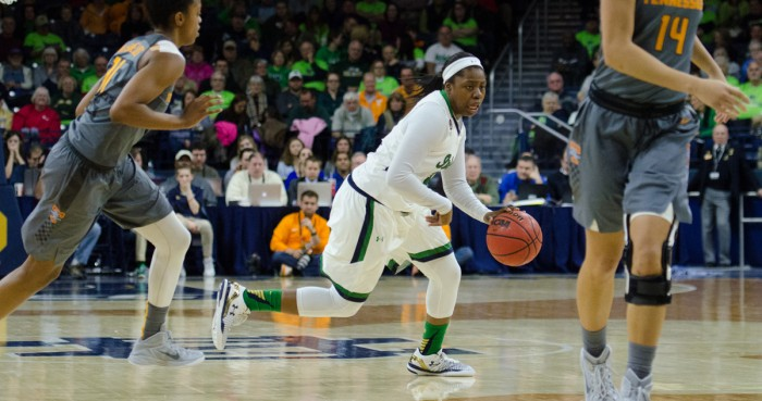 Irish freshman guard Arike Ogunbowale dribbles upcourt during Notre Dame's 79-66 victory over Tennessee on Jan. 24 at Purcell Pavilion. Ogunbowale scored 15 points, grabbed six rebounds and dished out two assists during Notre Dame's 80-41 win over Virginia Tech on Sunday.