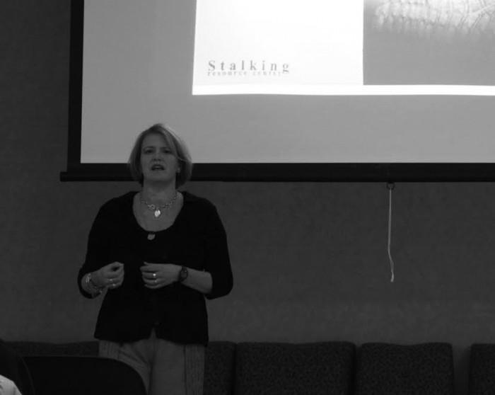 20160126, 20160126, Guest Speaker Debbie Riddle, Kathleen Donahue, Saint Mary's, Stalking Awareness