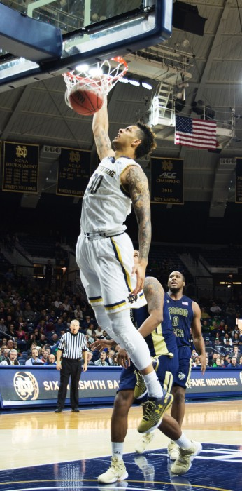 Irish senior forward Zach Auguste dunks during Notre Dame's 72-64 win over Georgia Tech on Jan. 20 at Purcell Pavilion.
