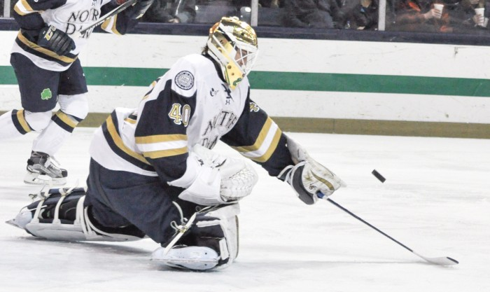 Sophomore goaltender Cal Petersen makes a save during his team's 7-2 win over Merrimack on Jan. 15 at Compton Family Ice Arena.