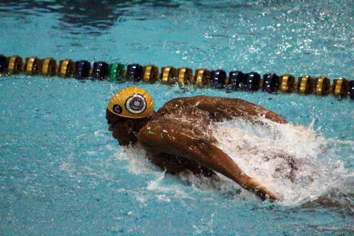 Freshman David Stewart swims the butterfly in Notre Dame's 166-132 victory over Northwestern on Jan. 16 at Rolfs Aquatic Center. The Irish men went 1-2 this weekend in the Shamrock Invitational.