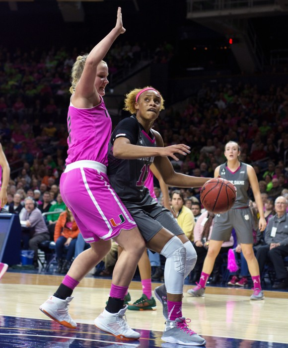 Irish freshman guard Arike Ogunbowale drives towards the lane during Notre Dame's 71-52 win over Clemson on Thursday.