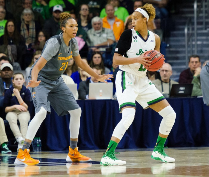Sophomore forward Brianna Turner looks to make a play during a 79-66 victory over Tennessee on Jan. 18 at Purcell Pavilion.