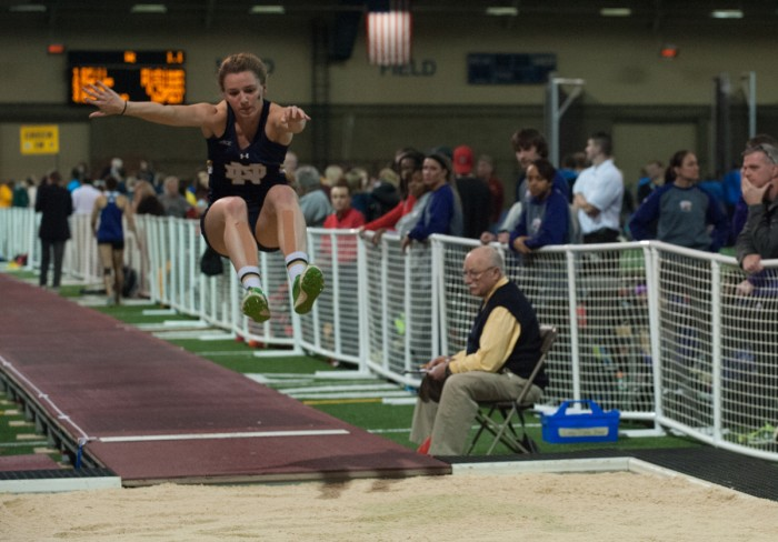 Junior long jumper Emily Carson competes during last year's Meyo Invitational on Feb. 6, 2015 at the  Loftus Sports Center. The Irish will host this year's edition of the Meyo Invitational this weekend.
