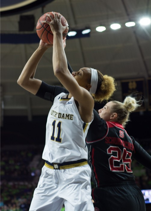 Sophomore forward Brianna Turner shoots the ball during Notre Dame's victory over NC State on Thursday at Purcell Pavilion.