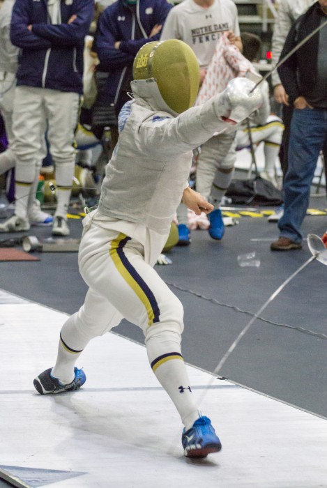 Irish sophomore Jonah Shainberg parries a blow in a match during the DeCicco Duals on Jan. 30 at the Castellan Family Fencing Center. Shainberg went 3-0 in sabre against Penn State in the Duals.