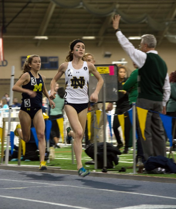 Irish senior Molly Seidel starts her final lap in the 3,000-meter run during the Meyo Invitational on Saturday. Seidel broke Molly Huddle's previous school record in the event with a time of 8:57.13.