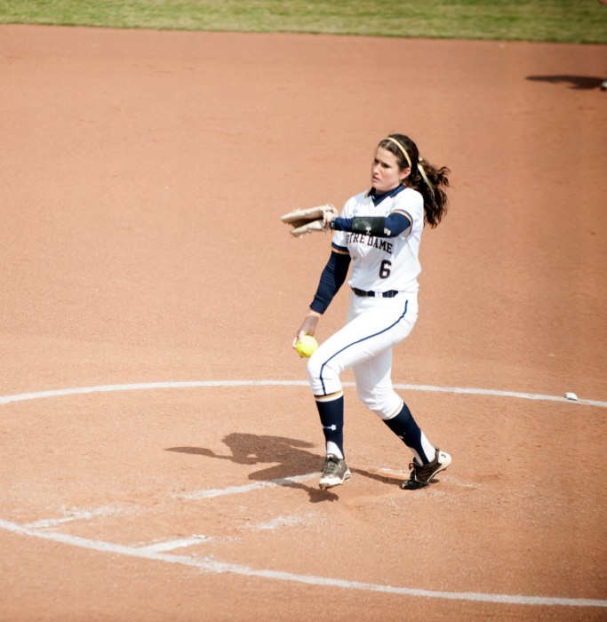 Irish junior pitcher Rachel Nasland delivers a pitch during Notre Dame's 6-1 win over Georgia Tech on March 21.