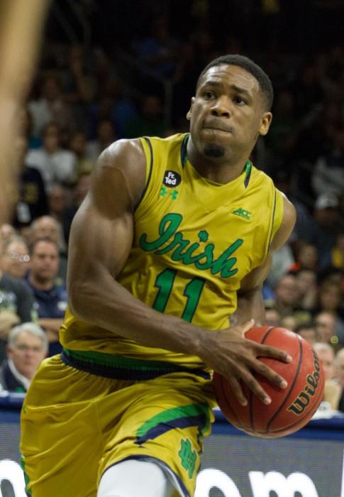 Junior guard Demetrius Jackson attacks the basket during an Irish 80-76 victory over North Carolina on Feb. 6 at Purcell Pavilion.