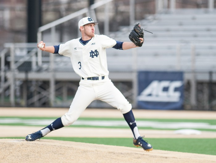 Junior right-hander Ryan Smoyer pitches during an 8-3 victory over Central Michigan on Mar. 18, 2015 at Eck Stadium.
