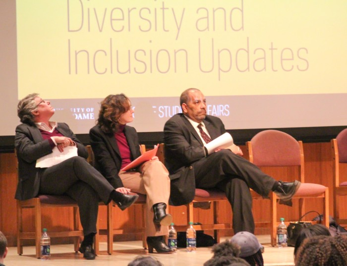 Administrators, left to right, Maura Ryan, Maureen Dawson and Hugh Page gathered Monday evening to discuss issues of diversity and inclusion in a town hall sponsored by Diversity Council.