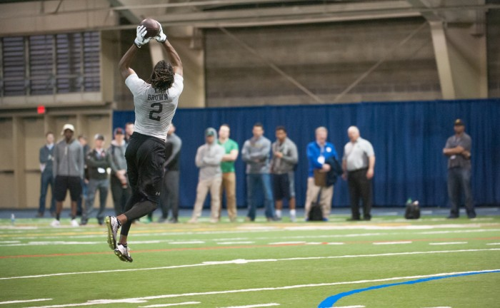 Former Irish receiver Chris Brown leaps to make a catch during Notre Dame's Pro Day on Thursday at Loftus Sports Complex.