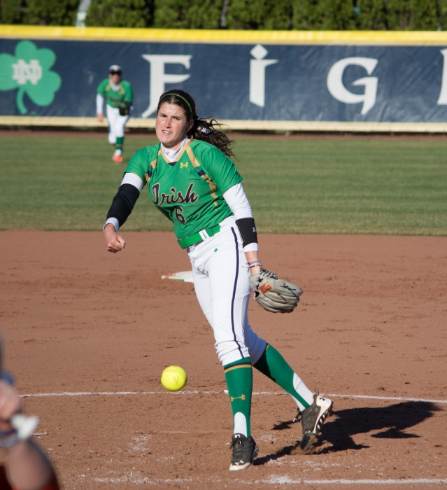 Irish junior Rachel Nasland delivers a pitch during Notre Dame's 10-0 win over Bowling Green on Thursday at Melissa Cook Stadium.