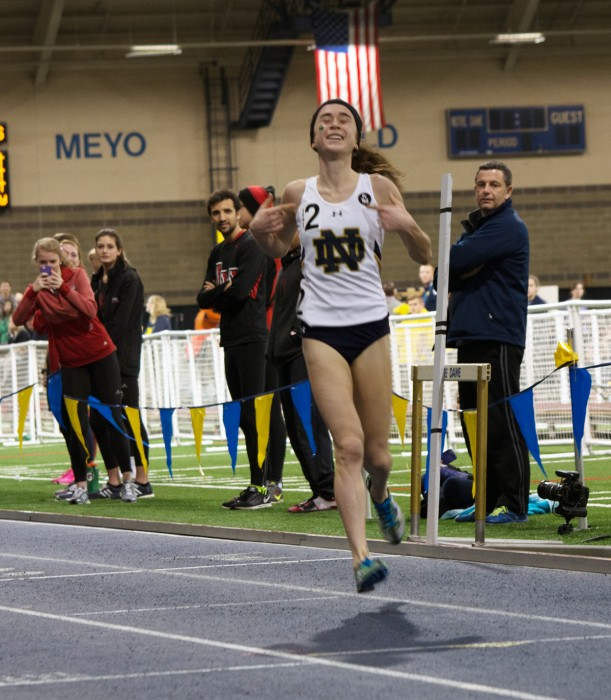 Senior Molly Seidel celebrates after winning the 3,000-meter run and setting a new school record at the Meyo Invitational on Feb. 6.