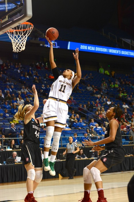 Irish sophomore forward Brianna Turner shoots the ball during Notre Dame's 90-84 loss to Stanford in the Sweet 16 on Friday night in Lexington, Kentucky.