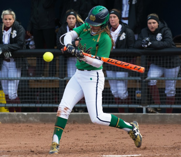 Sophomore shortstop Morgan Reed swings at a pitch during Notre Dame's 5-4 victory over Florida State on Sunday afternoon.