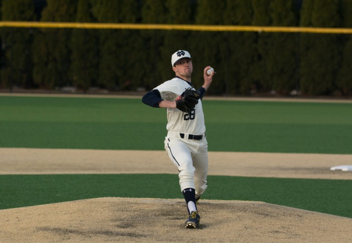 Irish senior starter Michael Hearne pitches during Notre Dame's 9-5 victory over UIC on March 22 at Frank Eck Stadium.