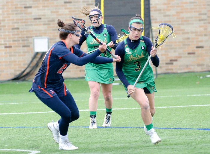 Irish freshman attack Nikki Ortega takes on a defender during Notre Dame's 16-4 win over Virginia on March 19 at Arlotta Stadium.
