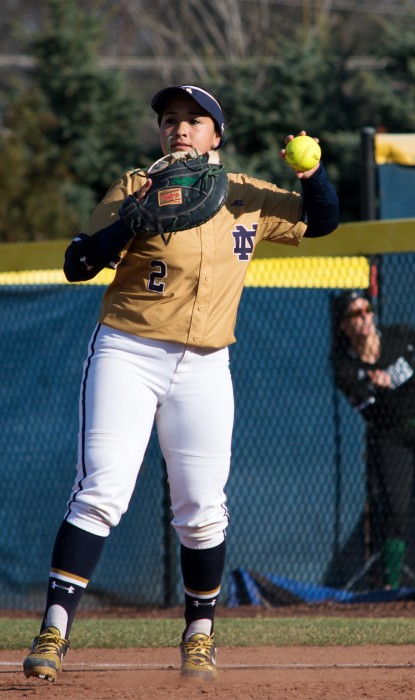Irish senior first baseman Micaela Arizmendi relays the ball in after recording an out during Notre Dame's 10-2 win over Eastern Michigan on March 22 at Melissa Cook Stadium.