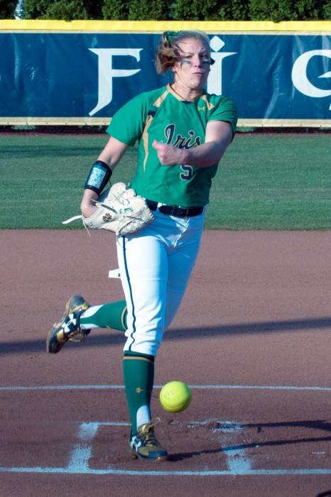 Irish senior Allie Rhodes delivers a pitch during Notre Dame's 5-0 victory over Butler on Thursday night at Melissa Cook Stadium.