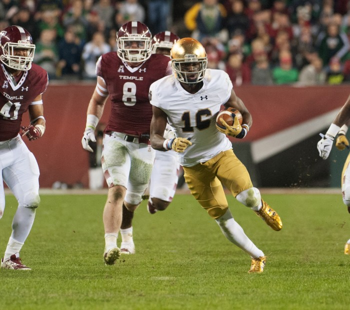 Irish senior Torii Hunter Jr. runs away from defenders during Notre Dame's 24-21 win at Temple on Oct. 31 in Philadelphia. Hunter's 28 receptions in 2015 make him the program's leading returner at receiver.