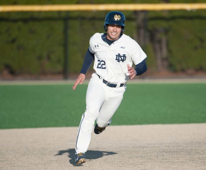 Irish senior left fielder Ricky Sanchez rounds second base during Notre Dame's 4-1 win over Boston College on Friday at Frank Eck Stadium. Sanchez leads Notre Dame with a .344 batting average.