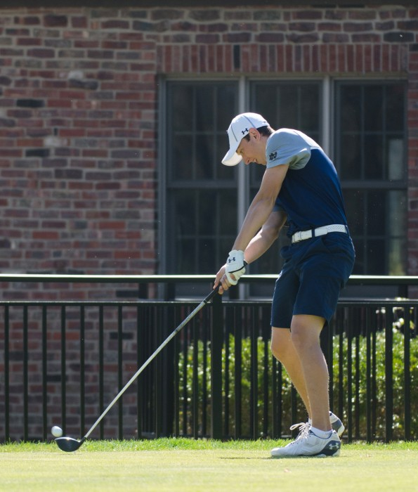 Irish sophomore Thomas Steve tees off at the Battle at the Warren on April 16. The Irish won the home tournament by 33 strokes.
