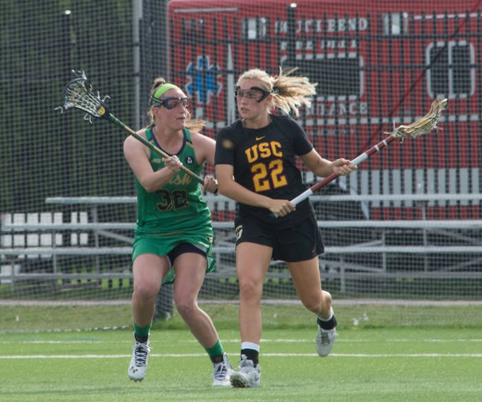 Irish senior defender Brie Custis attempts to stop an offensive charge in the Notre Dame's 5-4 loss to USC on Wednesday at Arlotta Stadium.