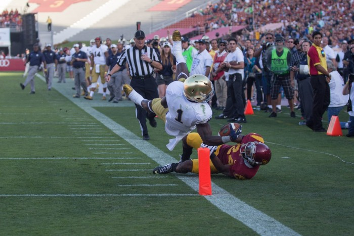 Former Irish running back Greg Bryant attempts to score a touchdown during Notre Dame's 49-14 loss against USC on Nov. 29, 2014, at LA Memorial Coliseum. Bryant was tragically shot on an interstate highway in south Florida on Saturday morning and died a few hours later.