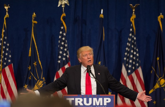 Republican presidential nominee Donald Trump speaks at a South Bend rally in May.