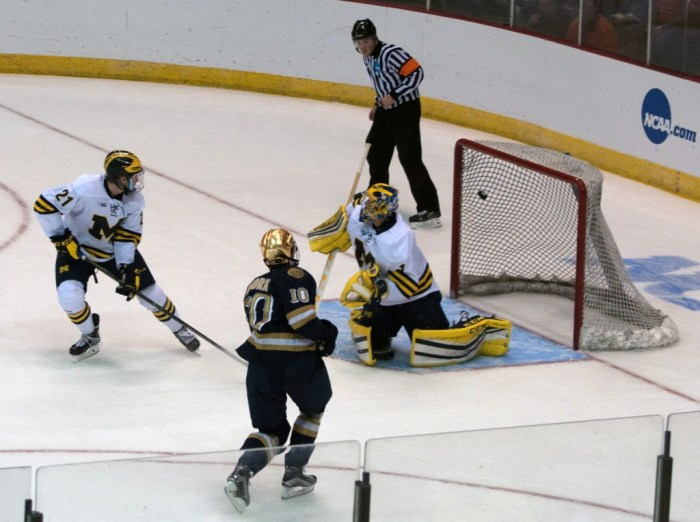 Irish sophomore left wing Anders Bjork scores over the goalie's shoulder in Notre Dame's 3-2 overtime loss to Michigan in the first round of the NCAA tournament on March 25 at US Bank Arena in Cincinnati.