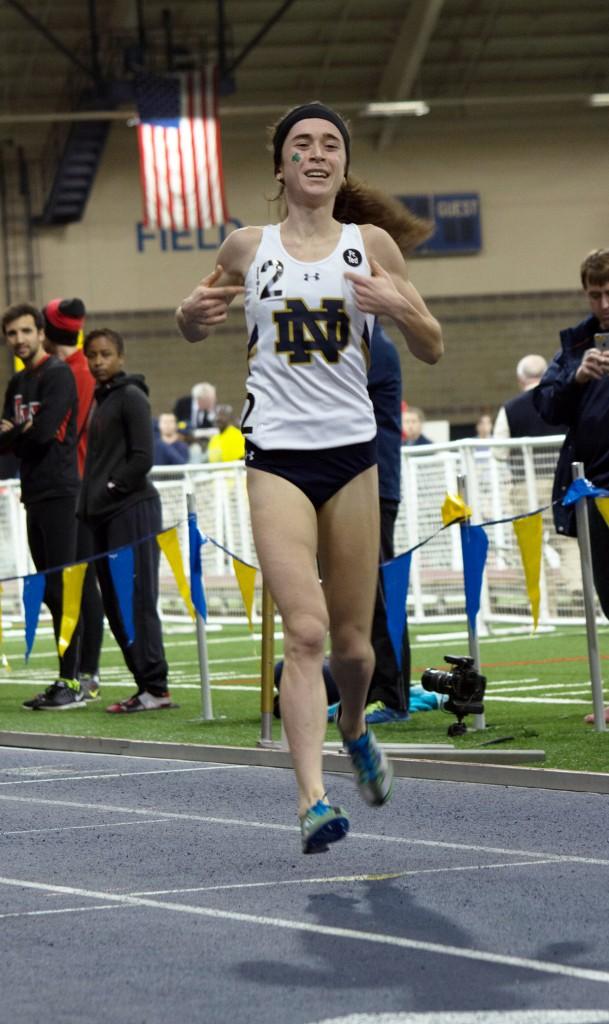Irish senior Molly Seidel cruises to victory in the 3,000-meter run on Feb. 6 at the Meyo Invitational at Loftus Sports Complex.