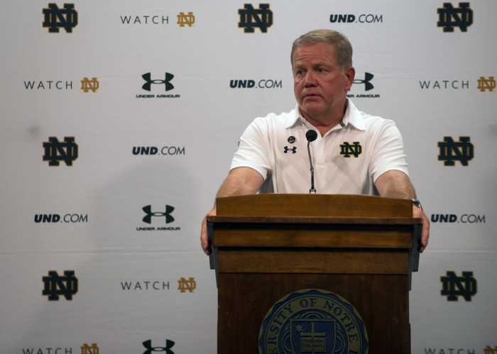 Irish head coach Brian Kelly addresses the media following Notre Dame's 2015 season-opening win over Texas on Sept. 5. The Irish downed the Longhorns 38-3 last year, kickstarting a 10-3 season.