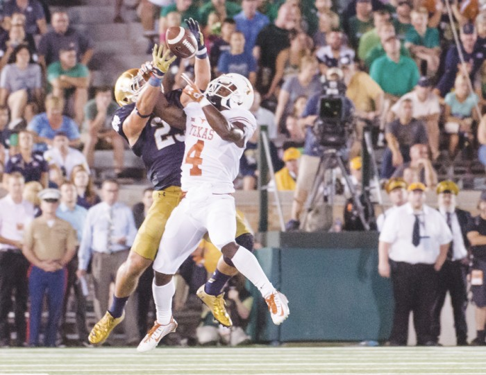 Irish junior safety Drue Tranquill contests a pass during Notre Dame's 38-3 win last season over Texas. Tranquill tore his ACL two weeks later against Georgia Tech but enters 2016 as the starter at strong safety.