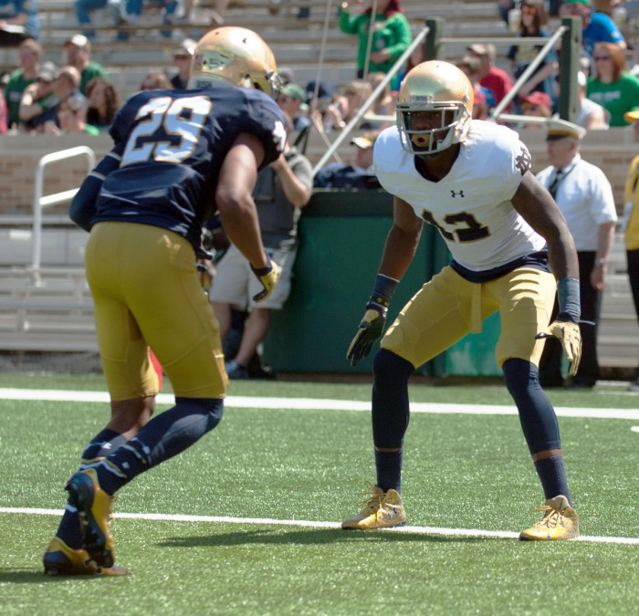 Irish senior Devin Butler lines up before a play during Notre Dame's Blue Gold Game on April 16 at Notre Dame Stadium. Butler has been indefinitely dismissed from the team.