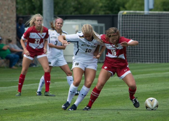 Irish freshman forward Jennifer Westendorf fights for possession of the ball during Notre Dame's 1-0 win over Wisconsin on Aug. 21 at Alumni Stadium.