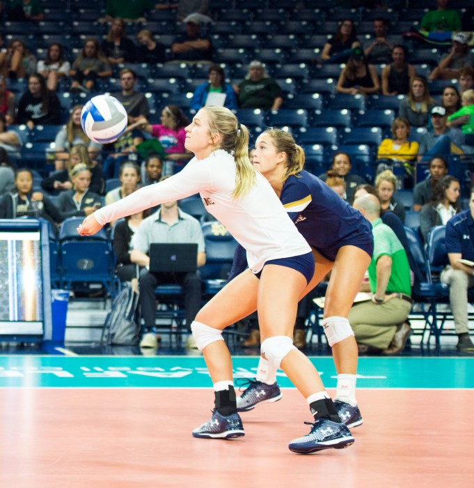Irish  sophomore libero Ryann DeJarld passes the ball on Aug. 2 at Purcell Pavilion.