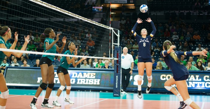 Irish junior Caroline Holt sets a ball on Sept. 2 at Purcell Pavilion.