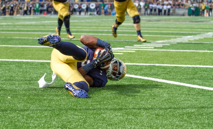 Irish sophomore receiver C.J. Sanders hauls in a touchdown catch during Notre Dame's 39-10 win over Nevada on Saturday.
