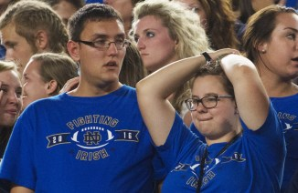 Disappointment is visible from the student section after the loss against Michigan State.