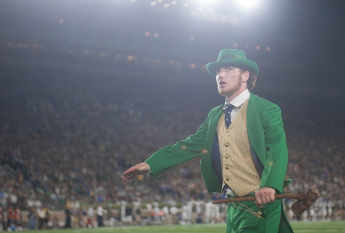 Football leprechaun Joe Fennessy interacted with the crowd at the Notre Dame football game against Michigan State last Saturday.