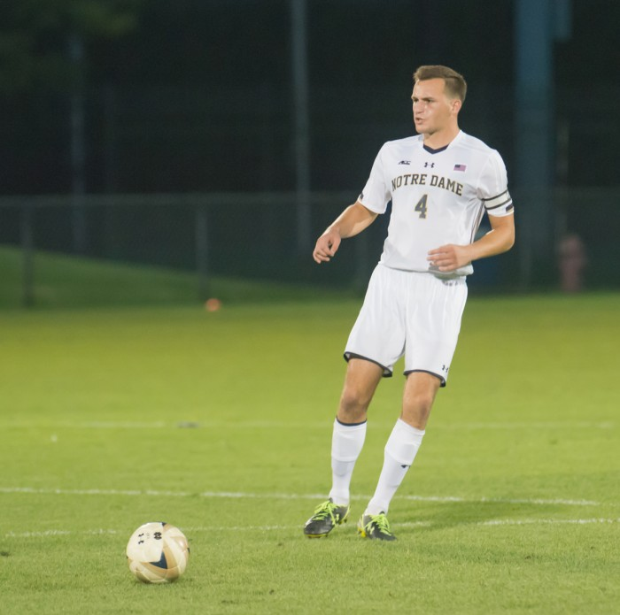 Irish senior defender Matt Habrowski receives a pass during Notre Dame's 1-0 win over Connecticut on Sept. 13 at Alumni Stadium. Habrowski, a team captain, has started in all seven matches for the Irish this season.