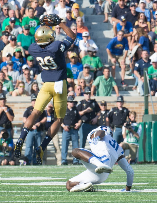 Irish freshman receiver Kevin Stepherson elevates to make a catch during Notre Dame's 38-35 loss to Duke on Saturday at Notre Dame Stadium.