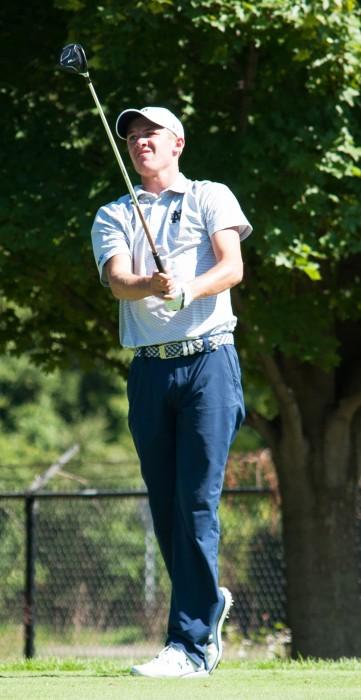 Irish freshman Hunter Ostrom follows his shot during the Notre Kickoff Challenge on Sept. 3 at Warren Golf Course