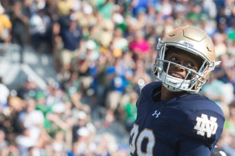 Kevin Stepherson smiles after scoring a touchdown this weekend against Duke.
