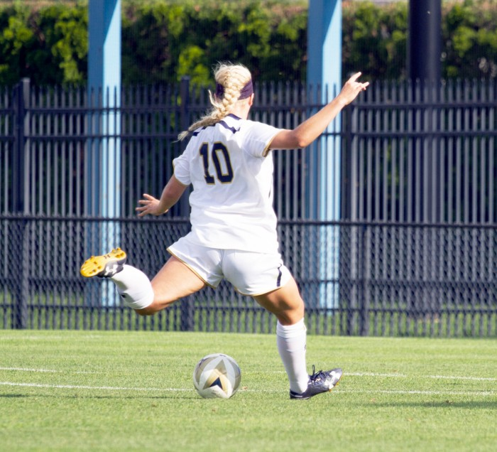 Irish freshman forward Jennifer Westendorf fires a shot during Notre Dame's 1-0 win over Missouri on Sept. 4 at Alumni Stadium.
