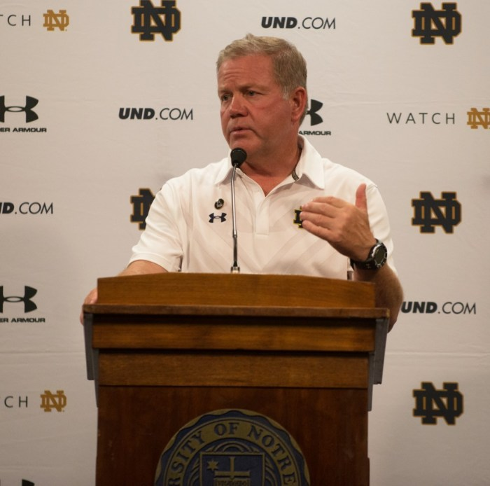 Irish head coach Brian Kelly addresses the media after Notre Dame's 38-3 victory over Texas at Notre Dame Stadium to open the 2015 season.