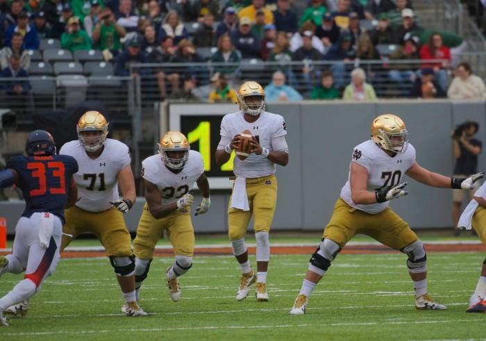 Irish junior quarterback DeShone Kizer drops back in the pocket in Notre Dame's 50-33 victory over Syracuse at MetLife Stadium.